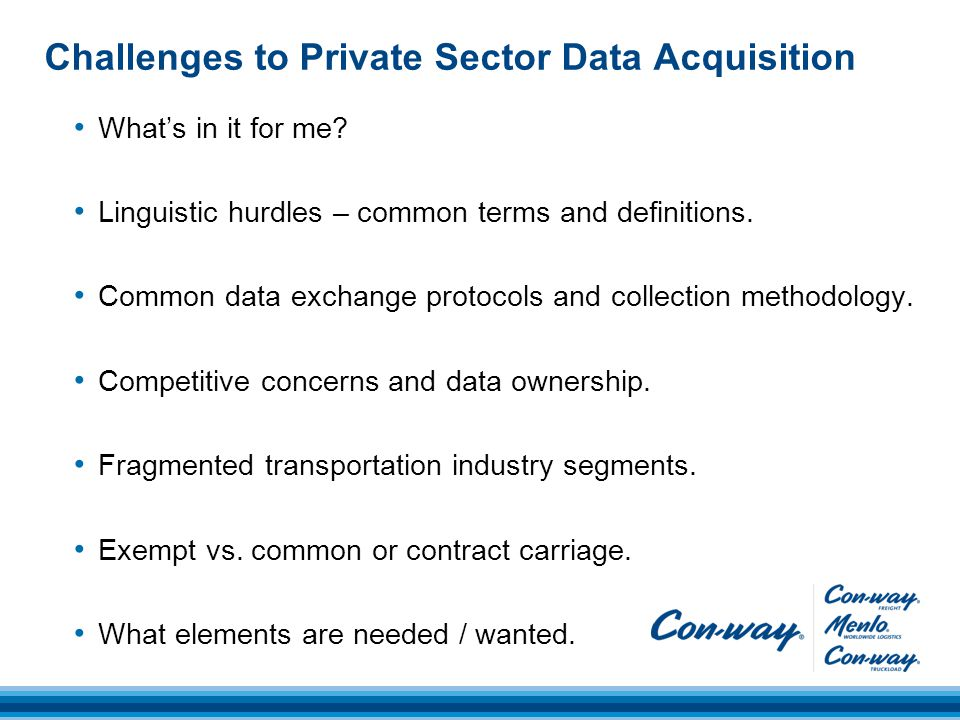 Challenges to Private Sector Data Acquisition What's in it for me.