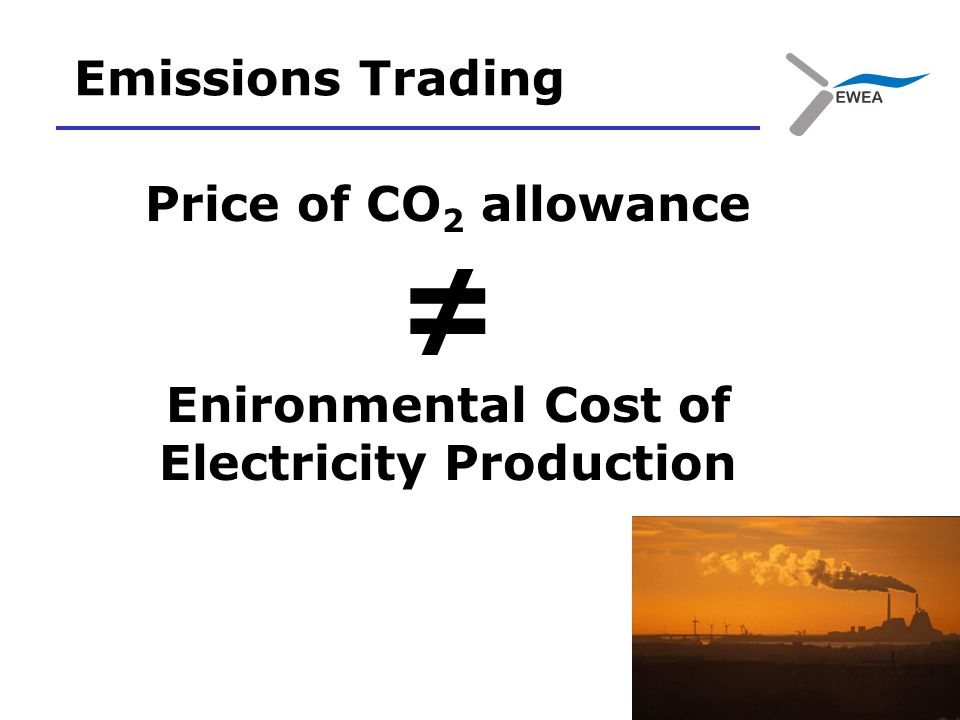 Price of CO 2 allowance ≠ Enironmental Cost of Electricity Production Emissions Trading