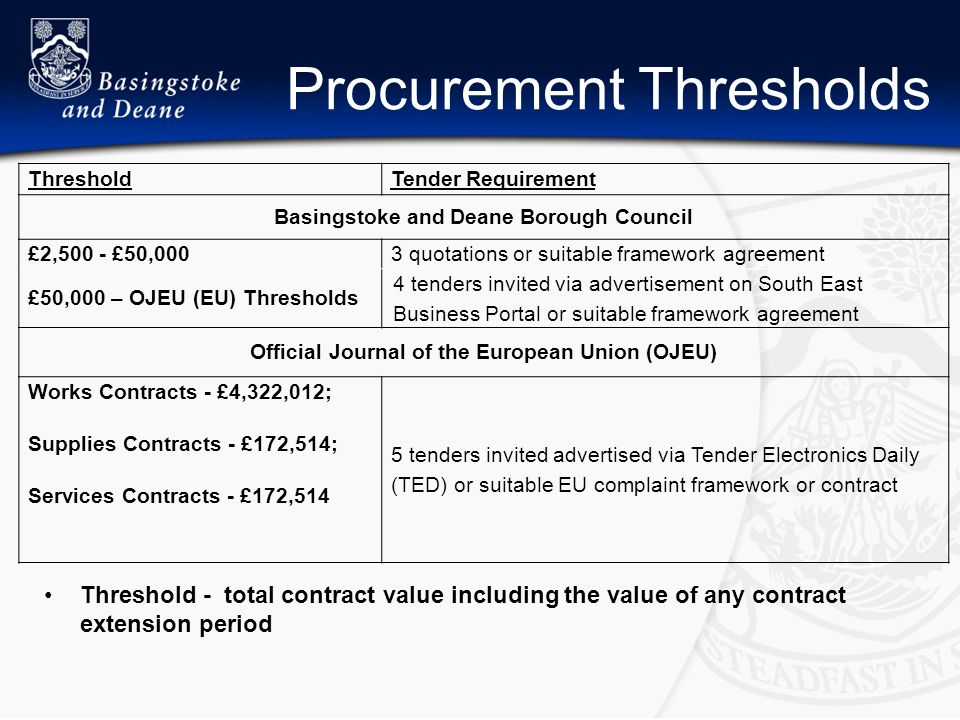 Procurement Thresholds ThresholdTender Requirement Basingstoke and Deane Borough Council £2,500 - £50,0003 quotations or suitable framework agreement £50,000 – OJEU (EU) Thresholds 4 tenders invited via advertisement on South East Business Portal or suitable framework agreement Official Journal of the European Union (OJEU) Works Contracts - £4,322,012; Supplies Contracts - £172,514; Services Contracts - £172,514 5 tenders invited advertised via Tender Electronics Daily (TED) or suitable EU complaint framework or contract Threshold - total contract value including the value of any contract extension period