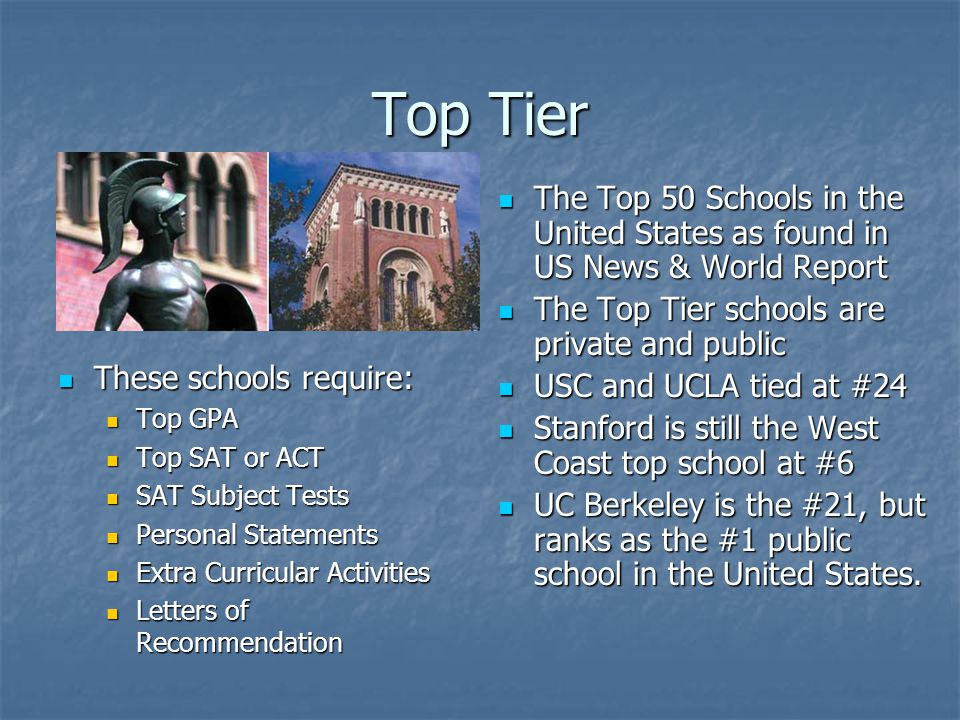 Top Tier These schools require: These schools require: Top GPA Top SAT or ACT SAT Subject Tests Personal Statements Extra Curricular Activities Letters of Recommendation The Top 50 Schools in the United States as found in US News & World Report The Top 50 Schools in the United States as found in US News & World Report The Top Tier schools are private and public The Top Tier schools are private and public USC and UCLA tied at #24 USC and UCLA tied at #24 Stanford is still the West Coast top school at #6 Stanford is still the West Coast top school at #6 UC Berkeley is the #21, but ranks as the #1 public school in the United States.