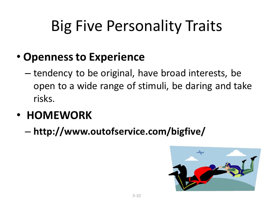 Big Five Personality Traits Openness to Experience – tendency to be original, have broad interests, be open to a wide range of stimuli, be daring and take risks.
