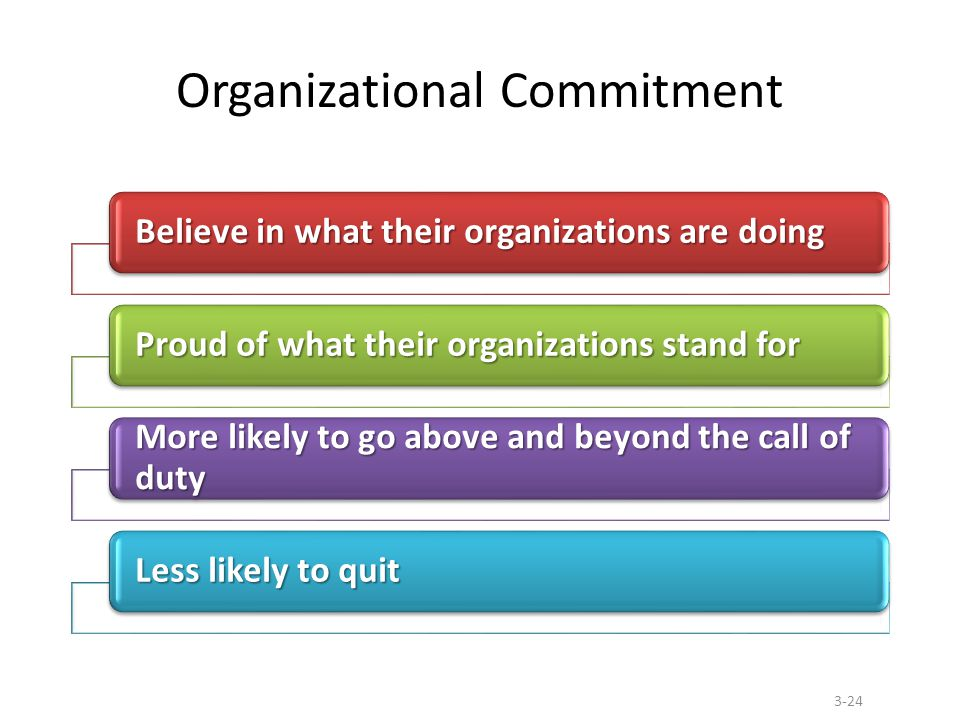 Organizational Commitment Believe in what their organizations are doing Proud of what their organizations stand for More likely to go above and beyond the call of duty Less likely to quit 3-24