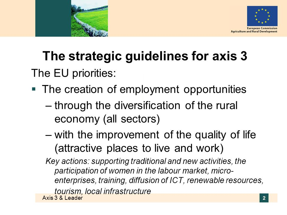 Axis 3 & Leader 2 The strategic guidelines for axis 3 The EU priorities:  The creation of employment opportunities –through the diversification of the rural economy (all sectors) –with the improvement of the quality of life (attractive places to live and work) Key actions: supporting traditional and new activities, the participation of women in the labour market, micro- enterprises, training, diffusion of ICT, renewable resources, tourism, local infrastructure
