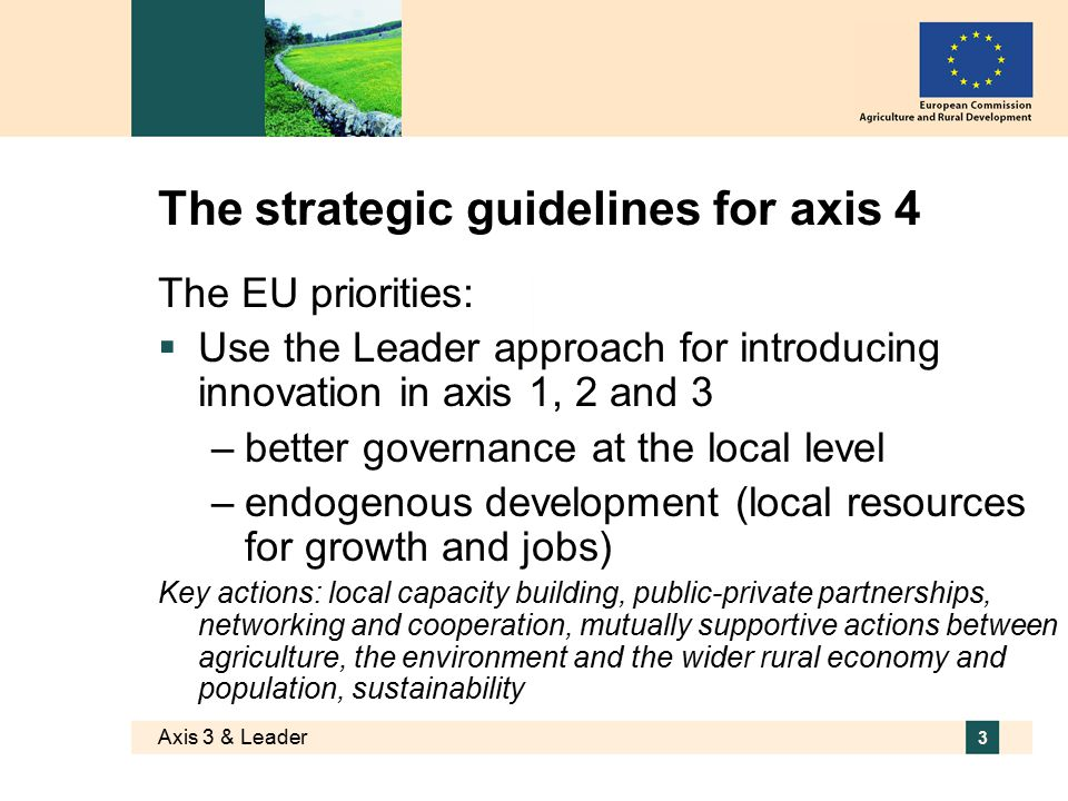 Axis 3 & Leader 3 The strategic guidelines for axis 4 The EU priorities:  Use the Leader approach for introducing innovation in axis 1, 2 and 3 –better governance at the local level –endogenous development (local resources for growth and jobs) Key actions: local capacity building, public-private partnerships, networking and cooperation, mutually supportive actions between agriculture, the environment and the wider rural economy and population, sustainability