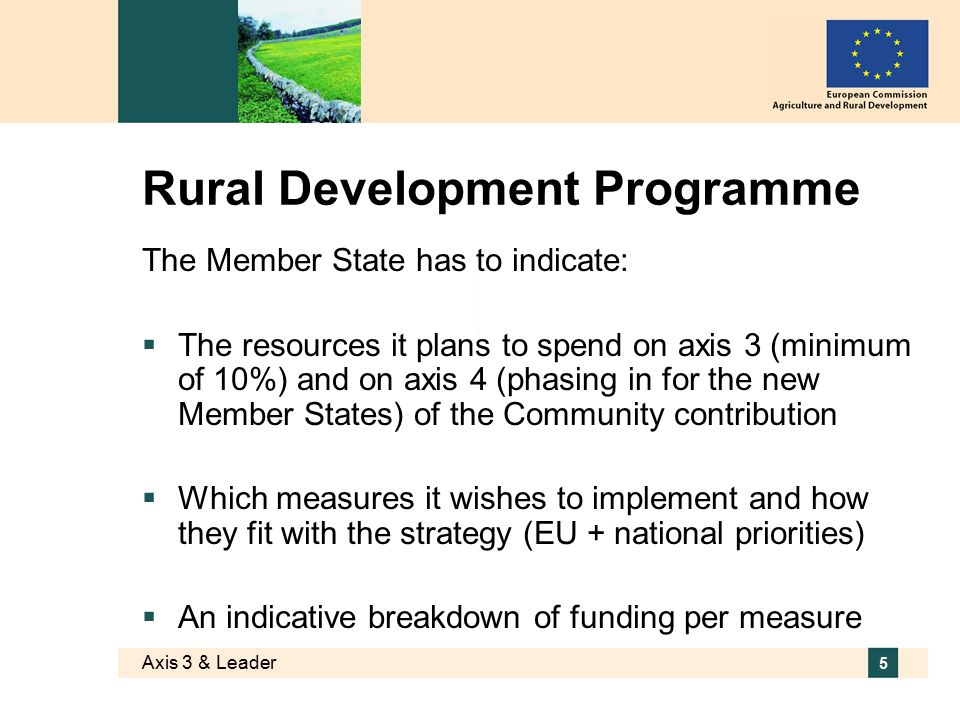 Axis 3 & Leader 5 Rural Development Programme The Member State has to indicate:  The resources it plans to spend on axis 3 (minimum of 10%) and on axis 4 (phasing in for the new Member States) of the Community contribution  Which measures it wishes to implement and how they fit with the strategy (EU + national priorities)  An indicative breakdown of funding per measure