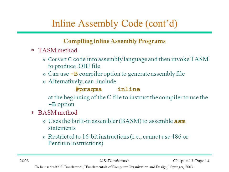 High-Level Language Interface Chapter 13 S  Dandamudi  - ppt