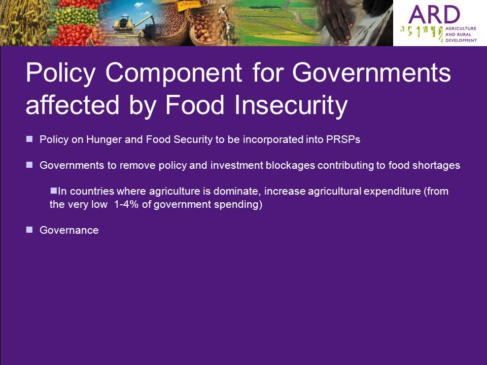 Policy Component for Governments affected by Food Insecurity Policy on Hunger and Food Security to be incorporated into PRSPs Governments to remove policy and investment blockages contributing to food shortages In countries where agriculture is dominate, increase agricultural expenditure (from the very low 1-4% of government spending) Governance
