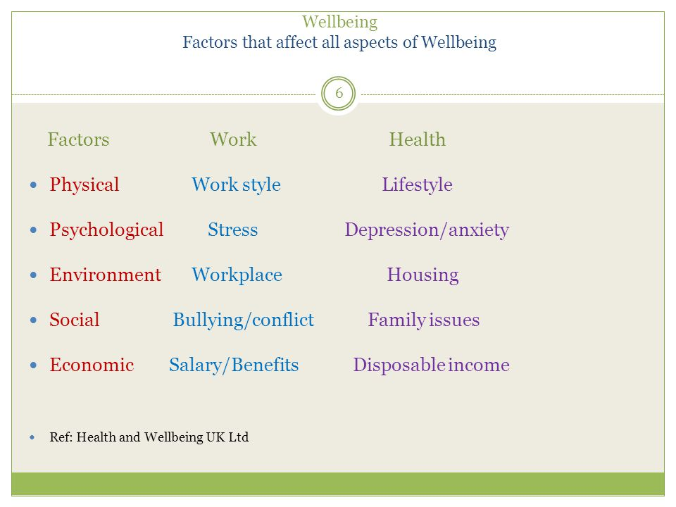 Wellbeing Factors that affect all aspects of Wellbeing Factors Work Health Physical Work style Lifestyle Psychological Stress Depression/anxiety Environment Workplace Housing Social Bullying/conflict Family issues Economic Salary/Benefits Disposable income Ref: Health and Wellbeing UK Ltd 6