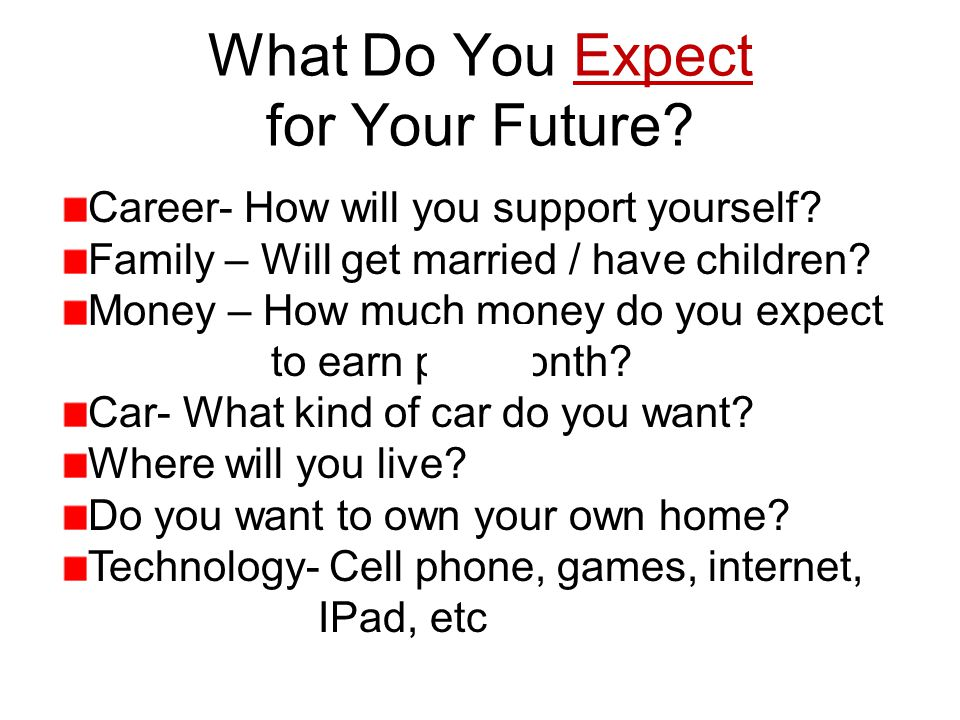What Do You Expect for Your Future. Career- How will you support yourself.