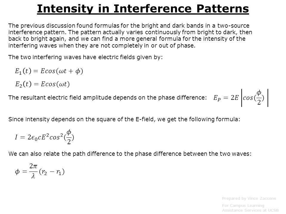 Physics 4 Interference of EM Waves Prepared by Vince Zaccone For