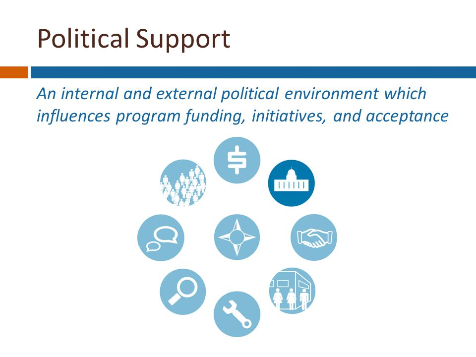 Political Support An internal and external political environment which influences program funding, initiatives, and acceptance Funding Stability Political Support