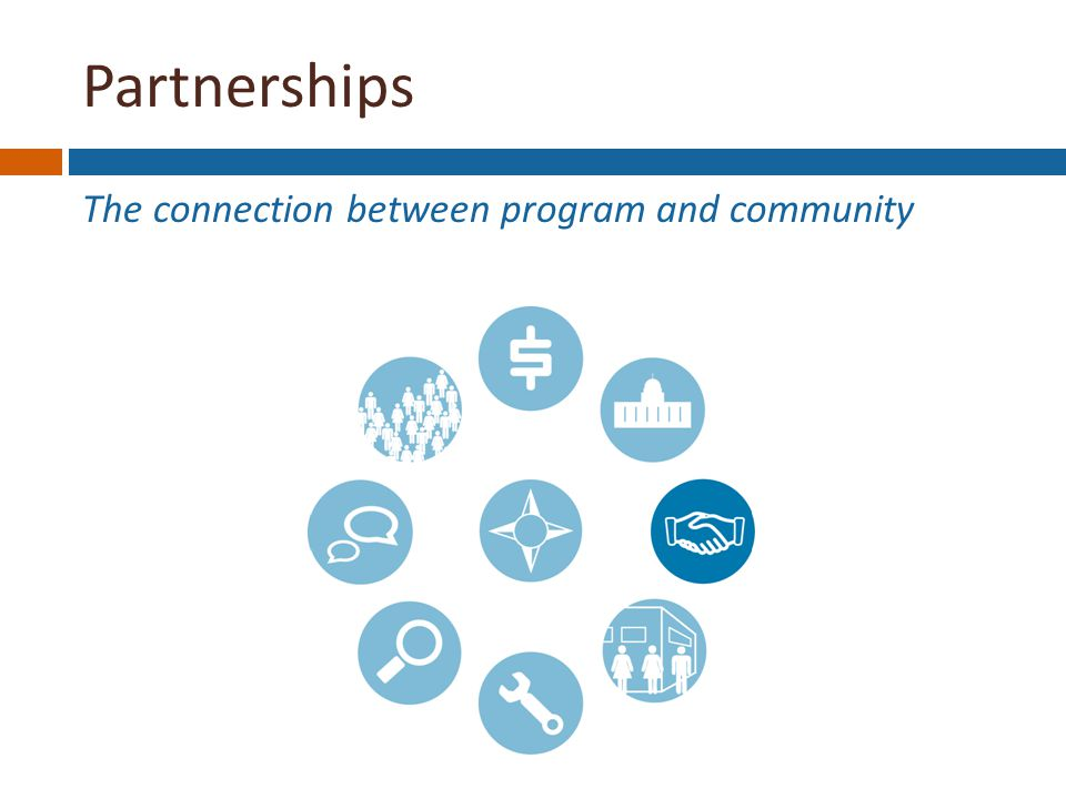 Partnerships The connection between program and community Funding Stability Political Support Partnerships