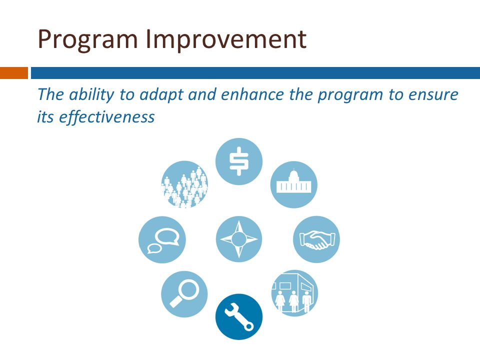 Program Improvement The ability to adapt and enhance the program to ensure its effectiveness Funding Stability Political Support Partnerships Organizational Capacity Program Improvement