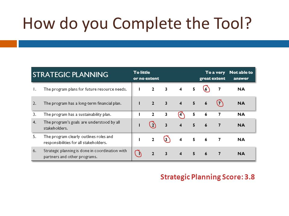 Strategic Planning Score: 3.8 How do you Complete the Tool