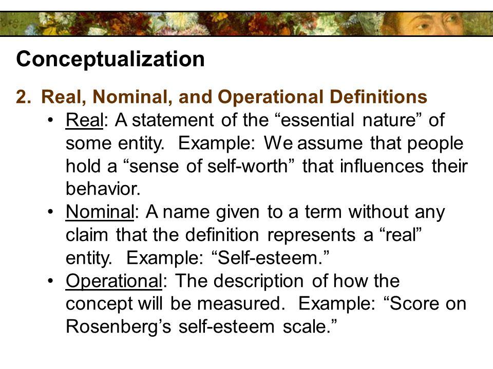 operational definition of self esteem