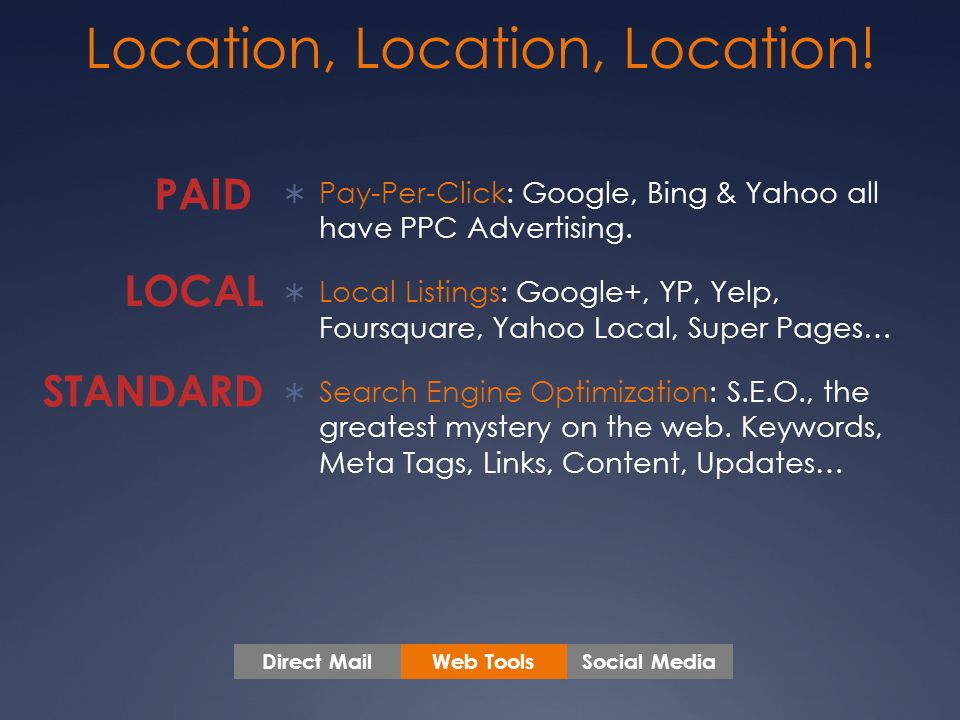  Pay-Per-Click: Google, Bing & Yahoo all have PPC Advertising.