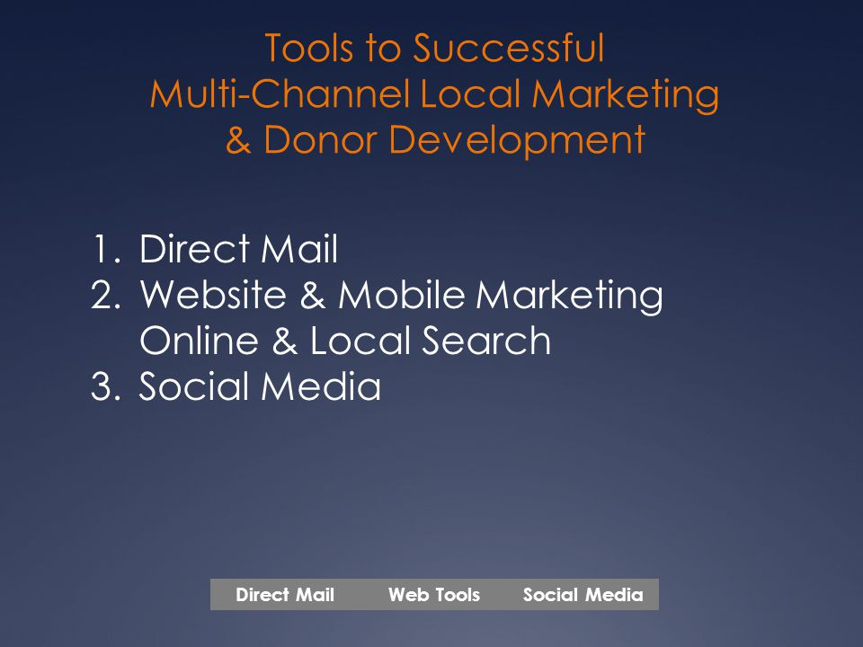 Tools to Successful Multi-Channel Local Marketing & Donor Development 1.Direct Mail 2.Website & Mobile Marketing Online & Local Search 3.Social Media Web ToolsSocial MediaDirect Mail