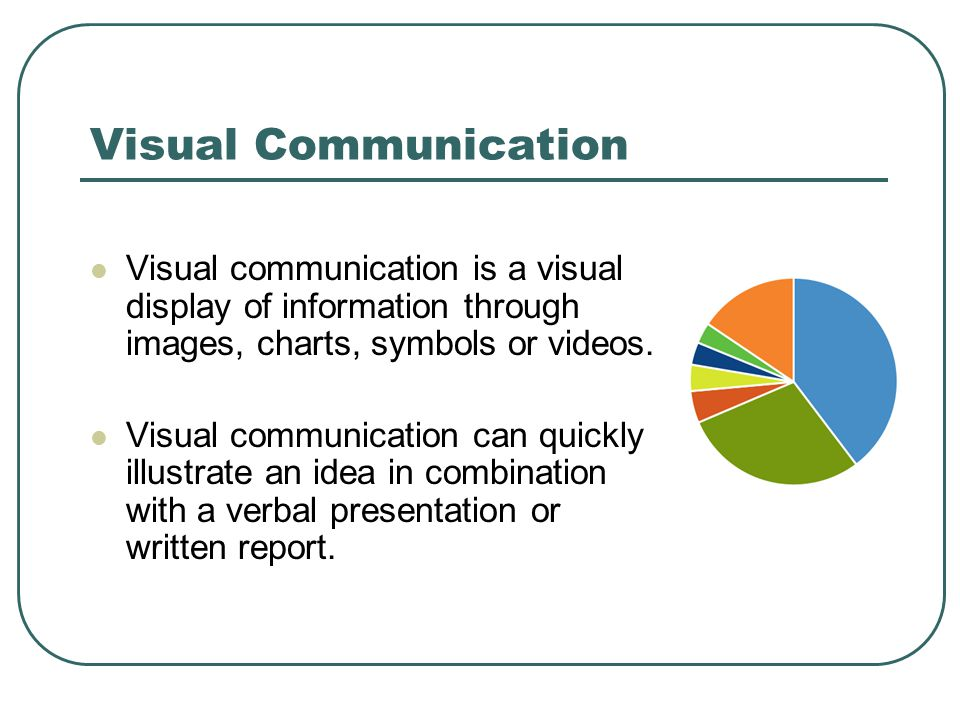 Visual Communication Visual communication is a visual display of information through images, charts, symbols or videos.