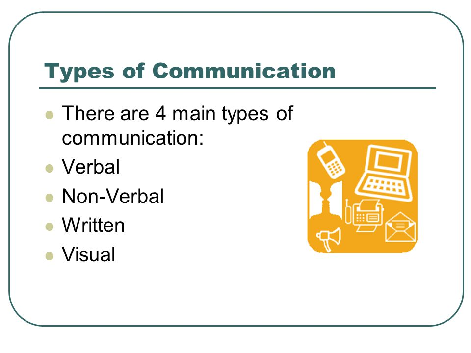 Types of Communication There are 4 main types of communication: Verbal Non-Verbal Written Visual