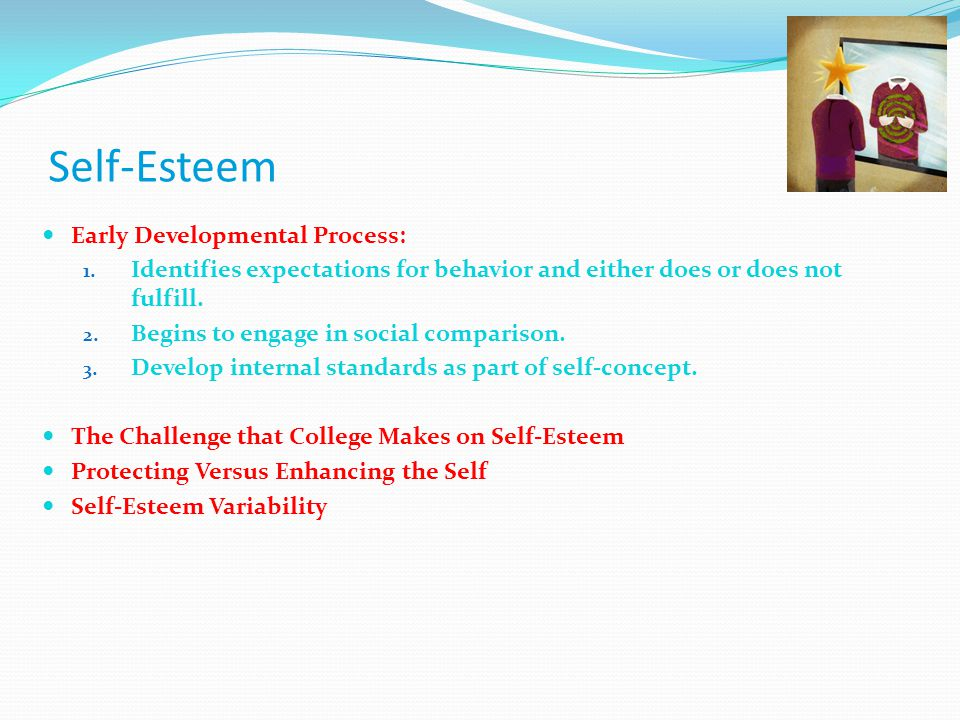 self esteem self concept Major effects regarding stress and susceptibility to disease c) children are prone to brain delays and adjustment problems d) poor self-esteem, high resilience, improved health ch 6 6-4 other related materials 14 pages when robert says i have brown eyes and black hair it reflects roberts 59 a self.