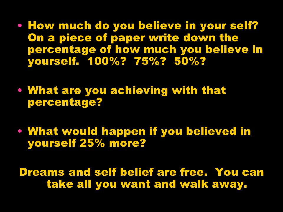How much do you believe in your self.