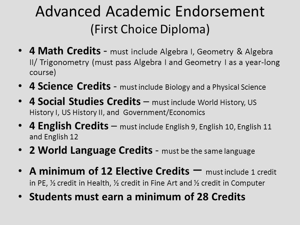 Advanced Academic Endorsement (First Choice Diploma) 4 Math Credits - must include Algebra I, Geometry & Algebra II/ Trigonometry (must pass Algebra I and Geometry I as a year-long course) 4 Science Credits - must include Biology and a Physical Science 4 Social Studies Credits – must include World History, US History I, US History II, and Government/Economics 4 English Credits – must include English 9, English 10, English 11 and English 12 2 World Language Credits - must be the same language A minimum of 12 Elective Credits – must include 1 credit in PE, ½ credit in Health, ½ credit in Fine Art and ½ credit in Computer Students must earn a minimum of 28 Credits