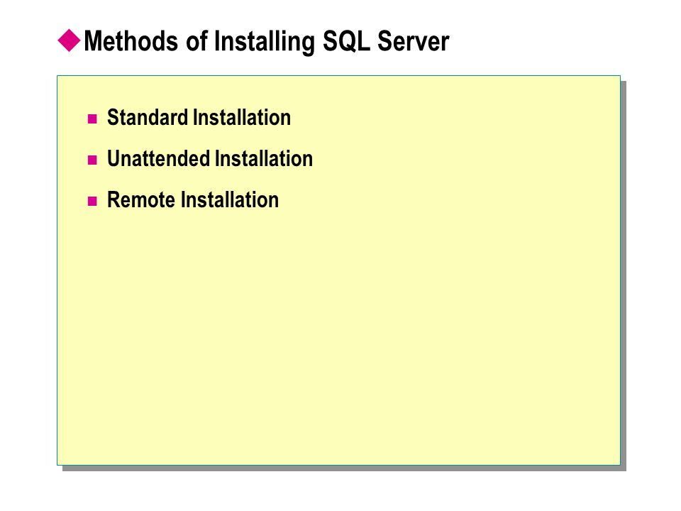  Methods of Installing SQL Server Standard Installation Unattended Installation Remote Installation