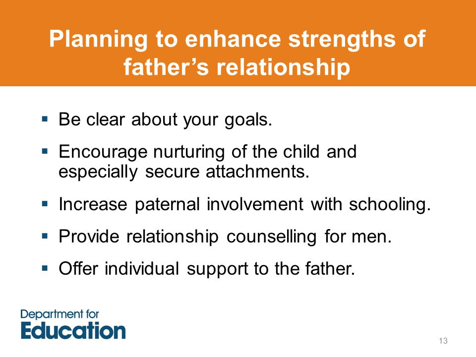 Planning to enhance strengths of father's relationship  Be clear about your goals.