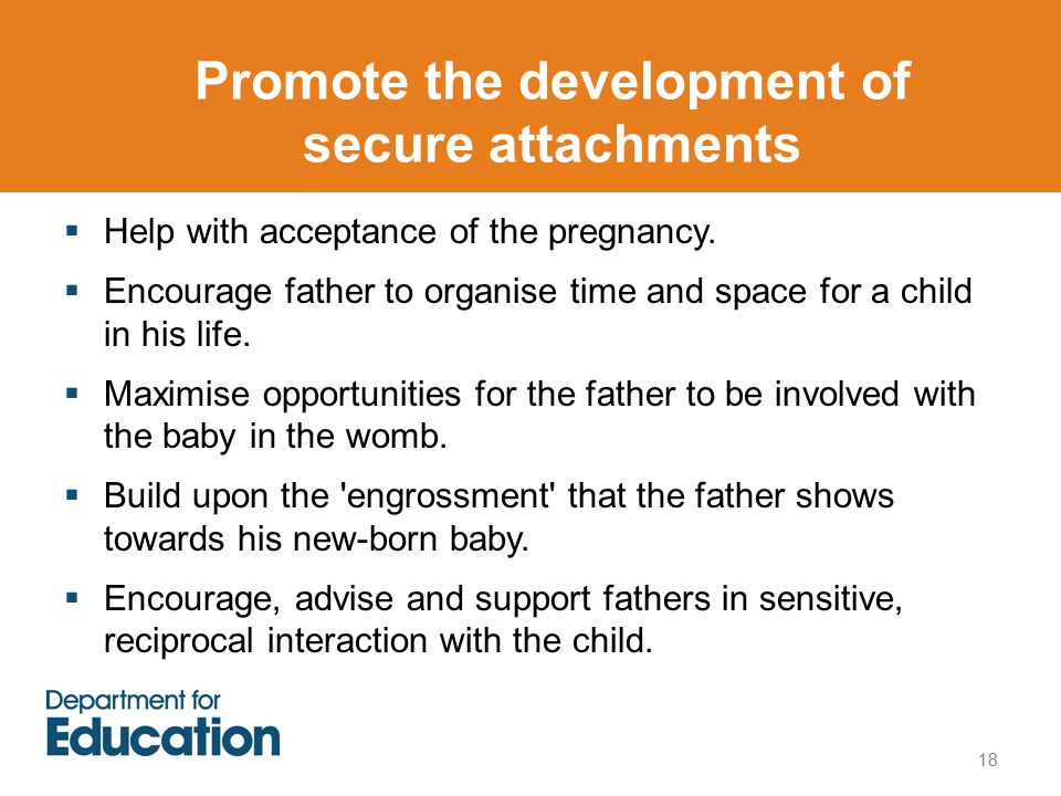 Promote the development of secure attachments 18  Help with acceptance of the pregnancy.
