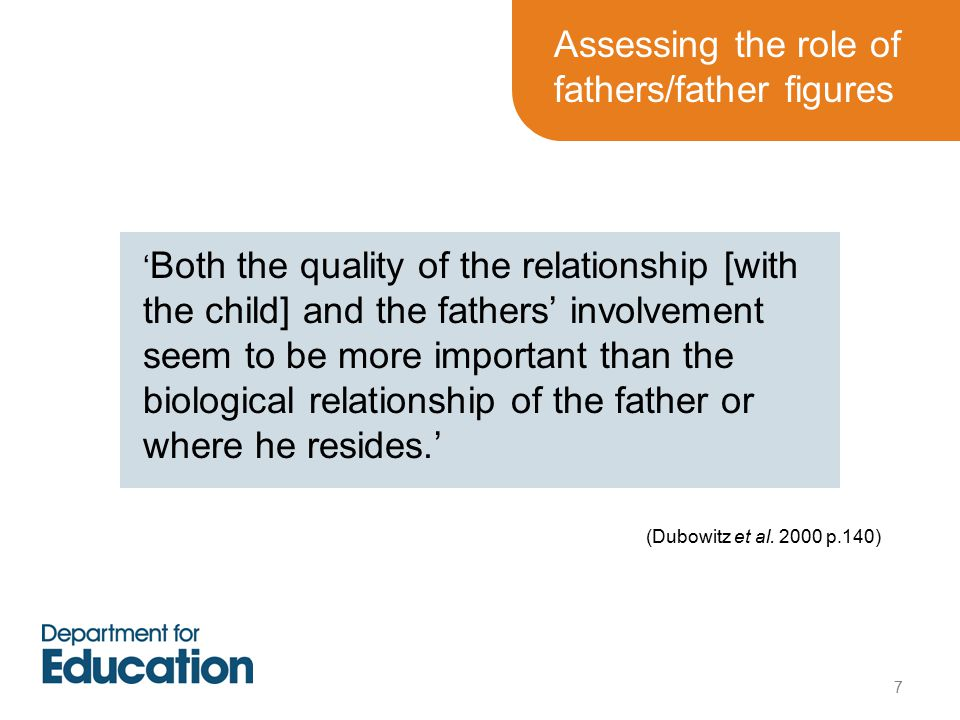 ' Both the quality of the relationship [with the child] and the fathers' involvement seem to be more important than the biological relationship of the father or where he resides.' (Dubowitz et al.