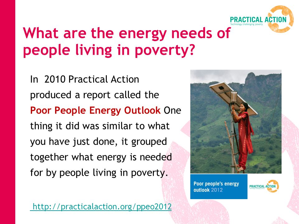 What are the energy needs of people living in poverty.