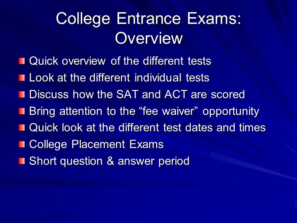 Preparing for College College Tests: AP, PSAT/NMSQT, SAT