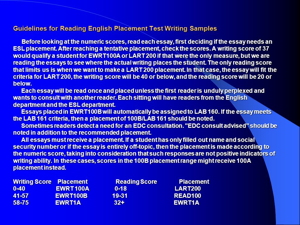 de anza english placement test essay