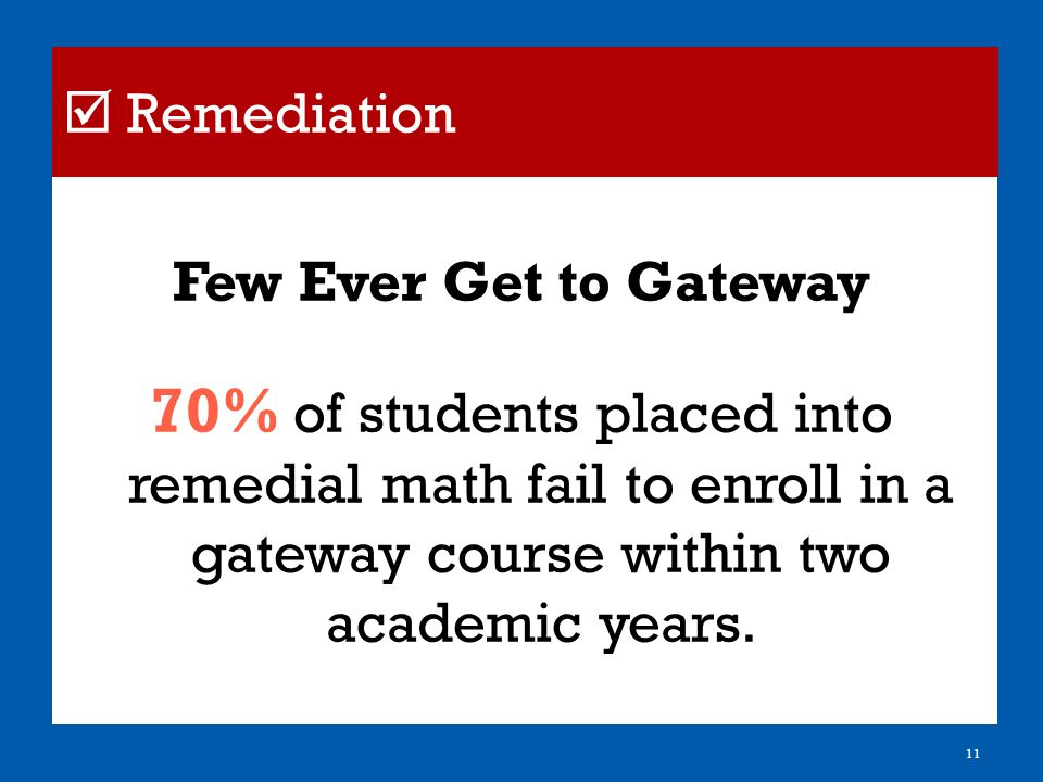 Few Ever Get to Gateway 70% of students placed into remedial math fail to enroll in a gateway course within two academic years.
