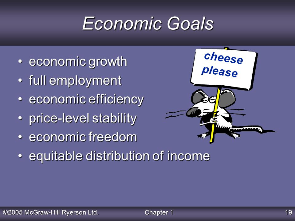 ©2005 McGraw-Hill Ryerson Ltd.Chapter 119 Economic Goals economic growtheconomic growth full employmentfull employment economic efficiencyeconomic efficiency price-level stabilityprice-level stability economic freedomeconomic freedom equitable distribution of incomeequitable distribution of income cheese please