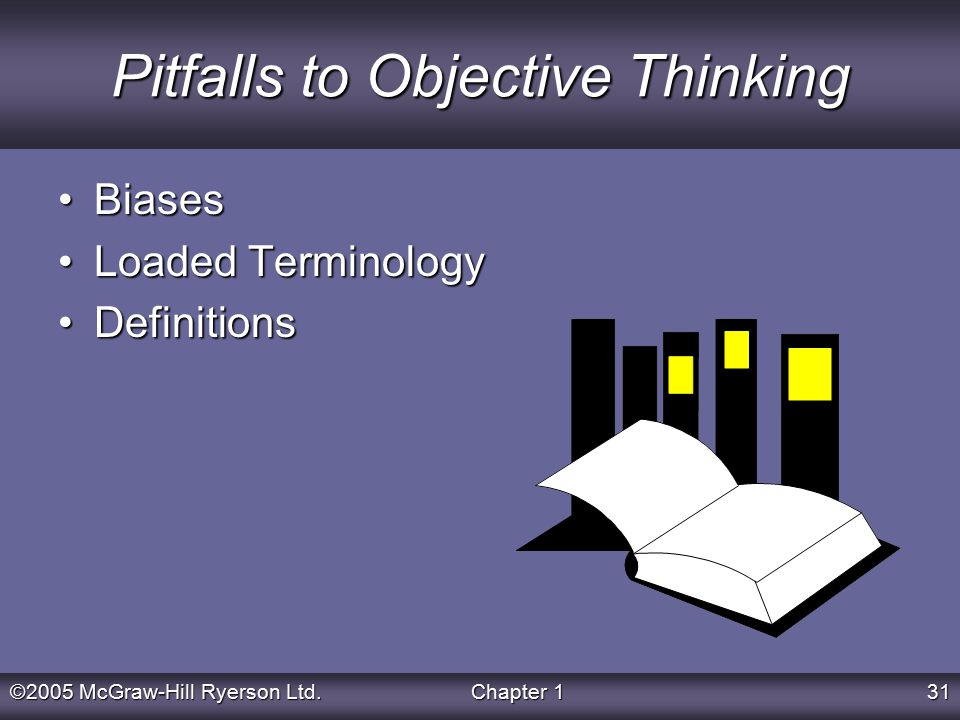 ©2005 McGraw-Hill Ryerson Ltd.Chapter 131 Pitfalls to Objective Thinking BiasesBiases Loaded TerminologyLoaded Terminology DefinitionsDefinitions