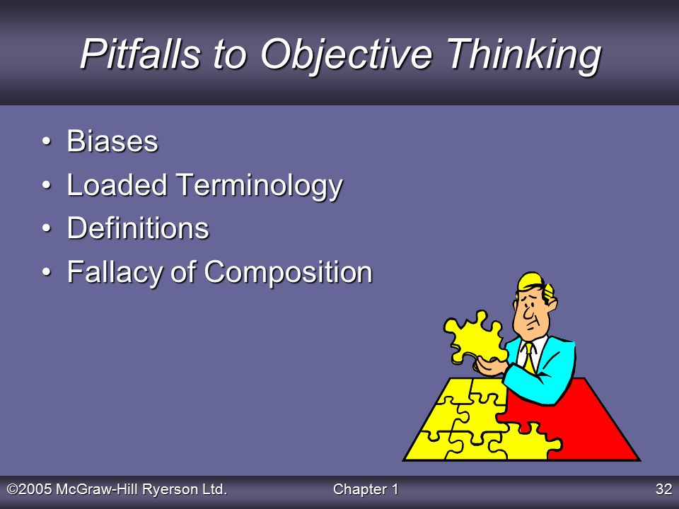 ©2005 McGraw-Hill Ryerson Ltd.Chapter 132 Pitfalls to Objective Thinking BiasesBiases Loaded TerminologyLoaded Terminology DefinitionsDefinitions Fallacy of CompositionFallacy of Composition