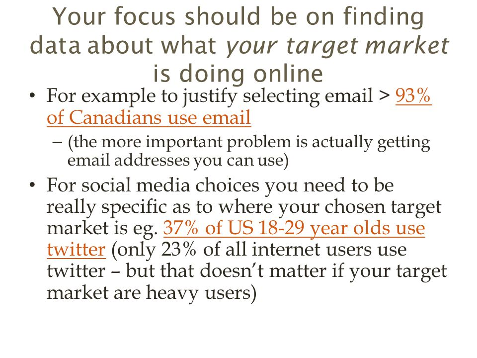 Your focus should be on finding data about what your target market is doing online For example to justify selecting  > 93% of Canadians use  93% of Canadians use  – (the more important problem is actually getting  addresses you can use) For social media choices you need to be really specific as to where your chosen target market is eg.