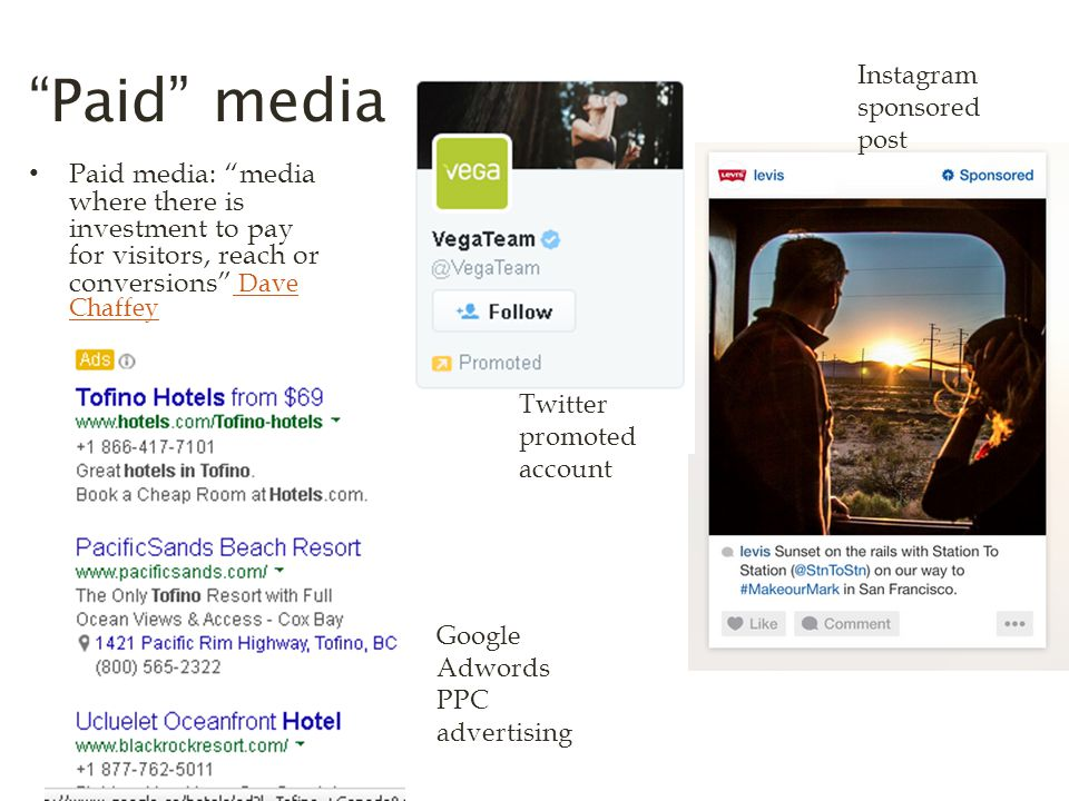 Paid media Paid media: media where there is investment to pay for visitors, reach or conversions Dave Chaffey Dave Chaffey Instagram sponsored post Twitter promoted account Google Adwords PPC advertising