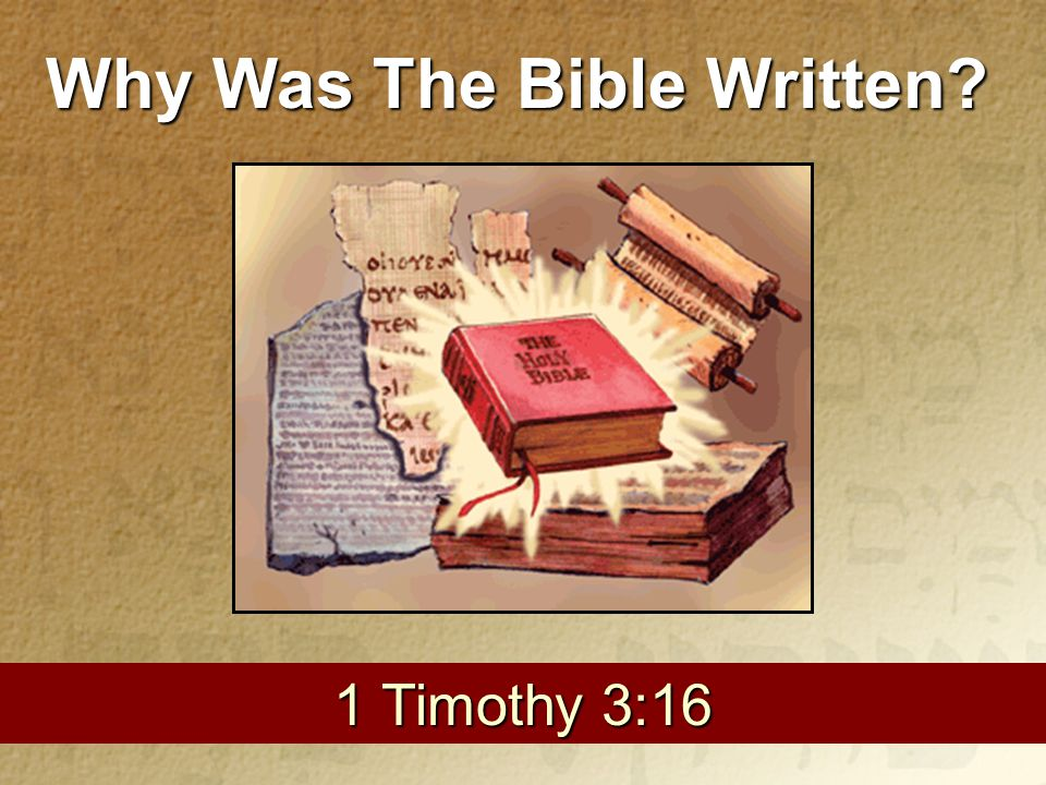 1 1 Timothy 3:16 Why Was The Bible Written