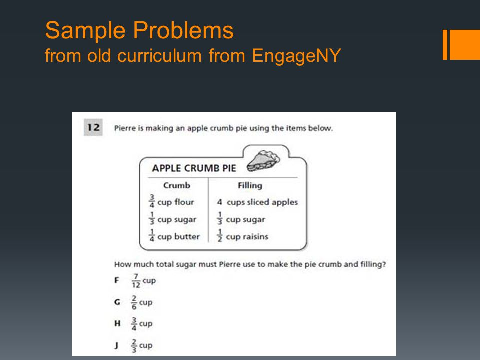 Sample Problems from old curriculum from EngageNY