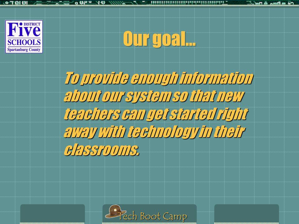 Technology Boot Camp District Five Schools of Spartanburg