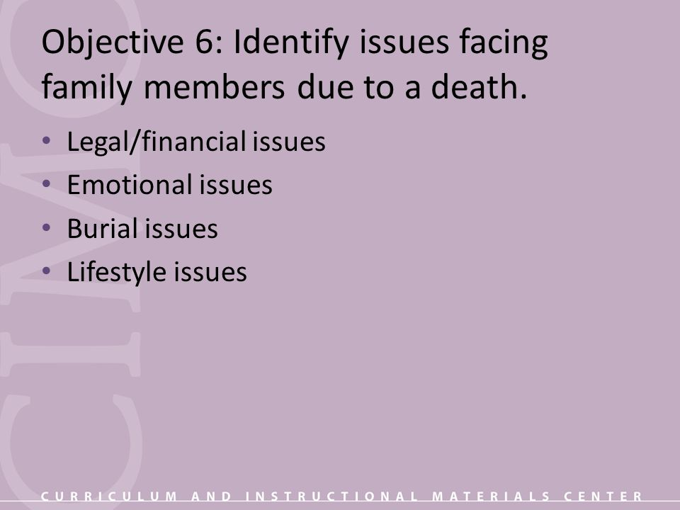Objective 6: Identify issues facing family members due to a death.