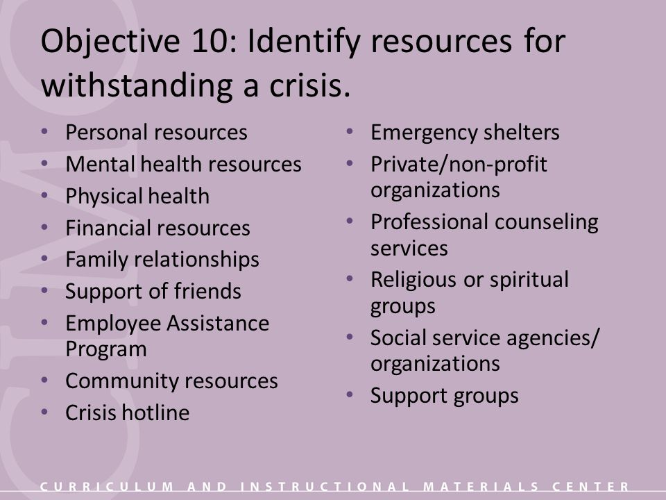 Objective 10: Identify resources for withstanding a crisis.
