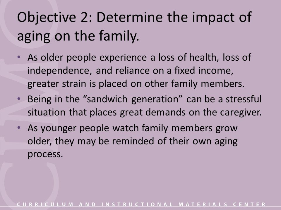 Objective 2: Determine the impact of aging on the family.