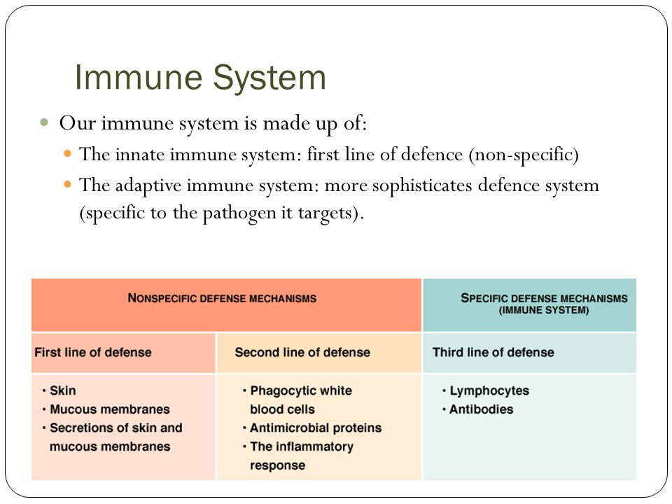 Immune System Our immune system is made up of: The innate immune system: first line of defence (non-specific) The adaptive immune system: more sophisticates defence system (specific to the pathogen it targets).