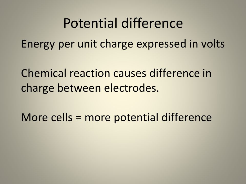 Potential difference Energy per unit charge expressed in volts Chemical reaction causes difference in charge between electrodes.