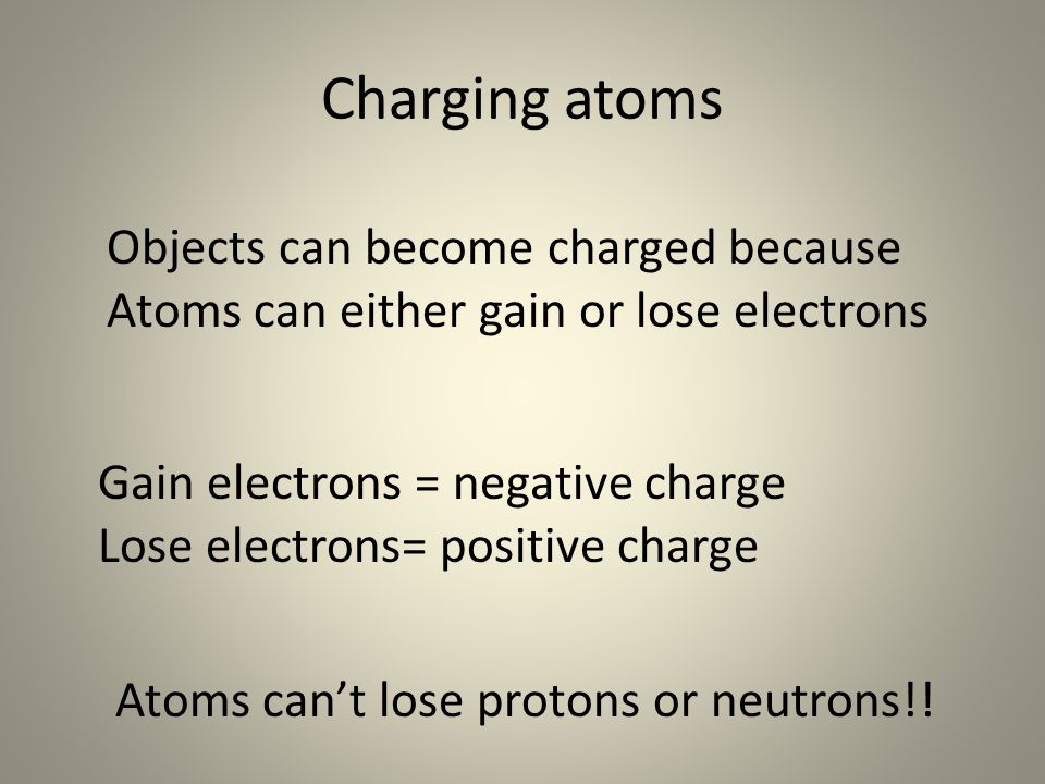 Charging atoms Objects can become charged because Atoms can either gain or lose electrons Gain electrons = negative charge Lose electrons= positive charge Atoms can't lose protons or neutrons!!