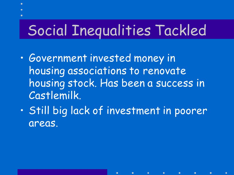 Social Inequalities Problems Rising unemployment in the 1980's Industrial decline.