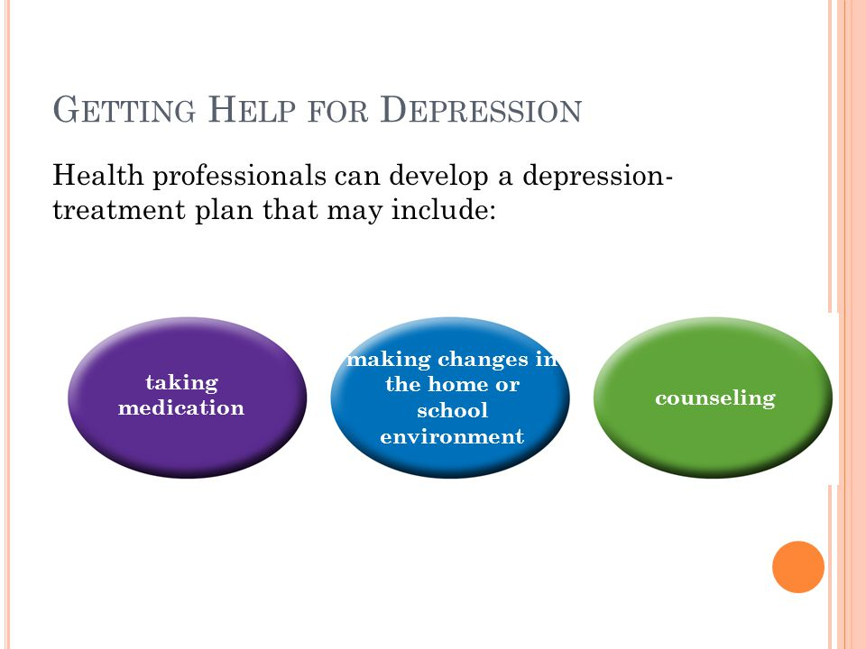 G ETTING H ELP FOR D EPRESSION Health professionals can develop a depression- treatment plan that may include: taking medication making changes in the home or school environment counseling
